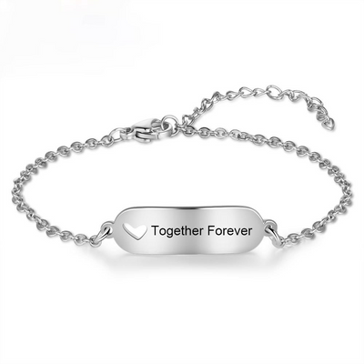 Customized Engravable Bar Bracelets for Women Hollow-out Heart Stainless Steel Personalized Bracelets Custom Gifts