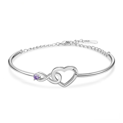Customized Infinity & Heart Bracelets & Bangles Personalized Birthstone Name Engraved Bracelets for Women New Year Gift