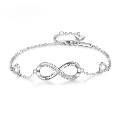 Customized Name Engraved Bracelet for Women Personalized 925 Sterling Silver Infinity Bracelet Promise Gift for Her