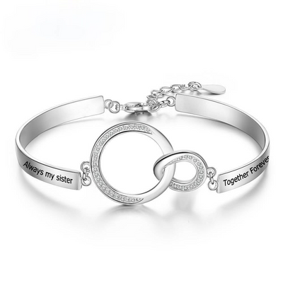 Personalized Engraved Name Circle Knot Bracelet Customized Sister Bracelet & Bangles for Best Friends Women Gifts