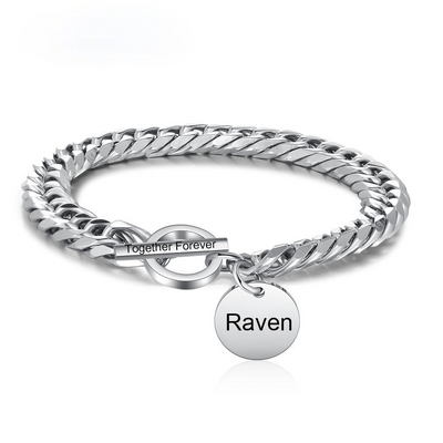 Personalized Engraving Name Toggle Bracelet Stainless Steel Link Chain Bracelets for Women/Men Custom Jewelry Gifts