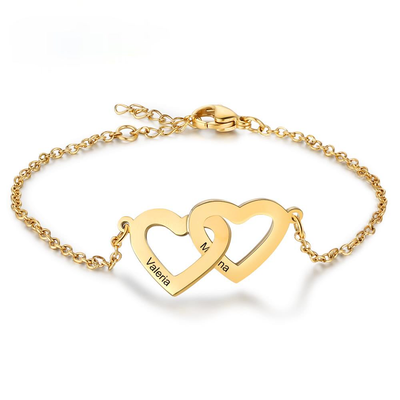 Personalized Intertwined Heart Bracelets with 2 Custom Names Customized Stainless Steel Engraved Bracelets & Bangles