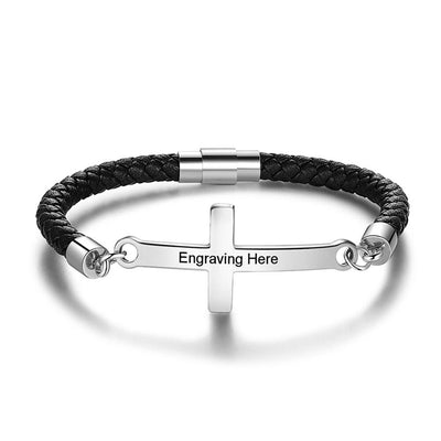 Personalized Stainless Steel Cross Engraved Name Men Bracelets Vintage Black Leather Bracelets for Men  Birthday Gift for Father