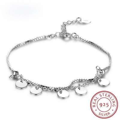 Romantic 925 Sterling Silver Bracelets For Women Trendy Romantic Round Adjustable Bracelets & Bangles