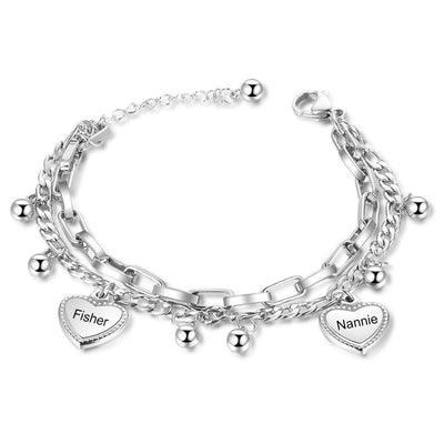 2021 Trend Stylish Layerling Beads & Heart Charm Bracelet Customize Name Double Chain Bracelets