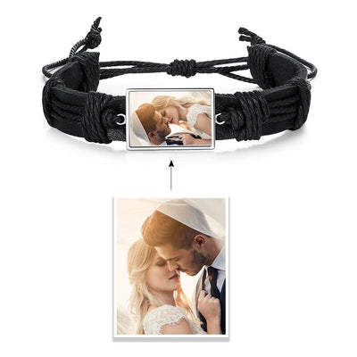 Personalized Photo Bracelets Charms for Jewelry Braided Rope Black Adjustable Custom Photo Bangles Gift for Husband