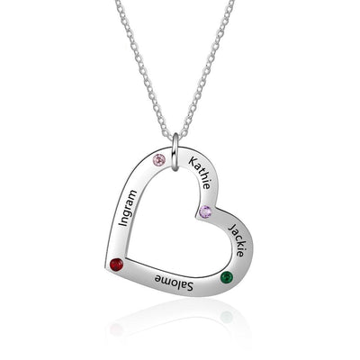 Custom 4 Names Necklace with Birthstone Stainless Steel Heart Pendant Necklace Personalized Gift for Family