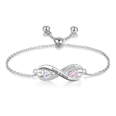 Personalized Engraved Name Infinity Bracelet with 2 Birthstones Custom Zirconia Adjustable Chain Bracelets for Women