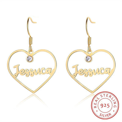 JewelOra 925 Sterling Silver Custom Name Earrings with 2 Birthstones Personalized Letters Drop Earrings for Women Birthday Gifts