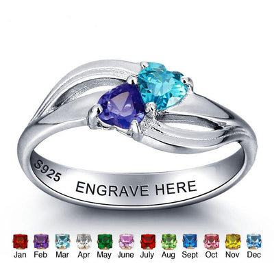 Personalized 925 Sterling Silver Around Two Heart Ring DIY Jewelry For Couples Customize Birthstone Ring (JewelOra RI101974)