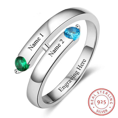 Personalized Gift Custom Engrave 2 Names & Birthstone Promise Name Birthstone Ring 925 Sterling Silver Anniversary Jewelry
