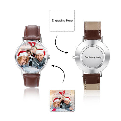 Custom Photo Watch Fashion Design Photo Surface Minimalist Unisex Leather Brand Wrist Watches