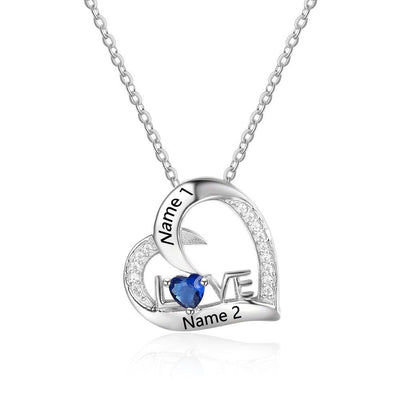 Custom Sterling Silver Necklace With Birthstone Engraved Necklace Eternal Love Romantic Gift