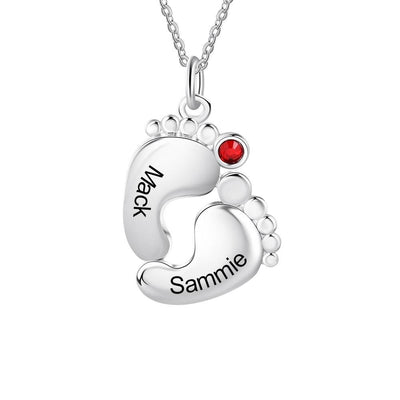 Customized 2 Names Baby Footprint Necklace Personalized Birthstone Engraved Necklaces for Women Gifts