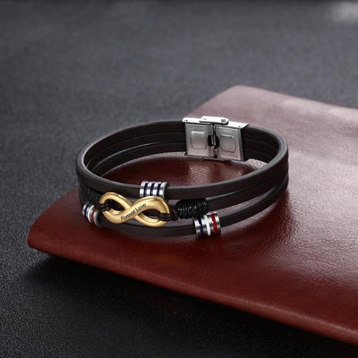 Customized 3-Layers Brown Leather Bracelets for Men Personalized Engraving Name Infinity Wristband Bracelets