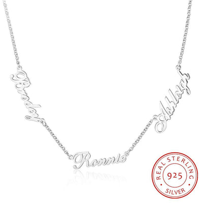 Customized 925 Sterling Silver 3 Names Necklaces for Women Personalized Letter Nameplate S925 Fine Jewelry Custom Gifts