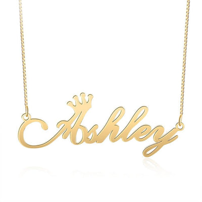 Customized Cursive Art Name Necklace with Crown Personalized Custom Letter Necklaces & Pendants Women Jewelry Gifts