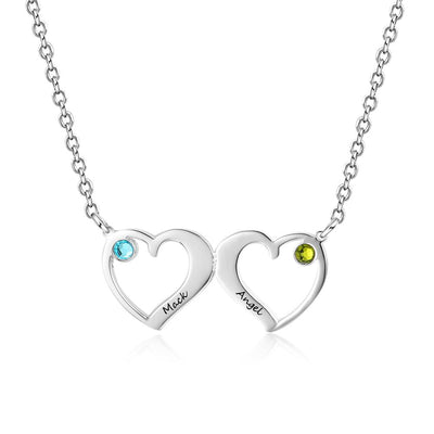 Customized Double Heart Pendant Necklace with 2 Birthstones Personalized Name Engraved Jewelry Couples Necklaces