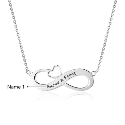 JewelOra Customized Engraving Heart & Infinity Necklaces for Women Personalized Name Silver Color Necklaces & Pendants Gifts