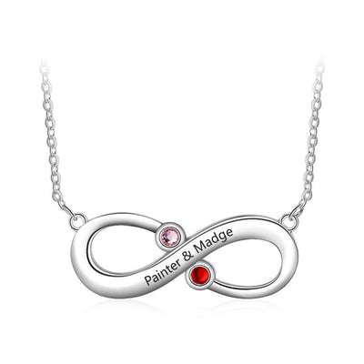 Customized Infinity Love Necklace with 2 Birthstones Personalized Name Engraved Necklace Jewelry Promise Gift