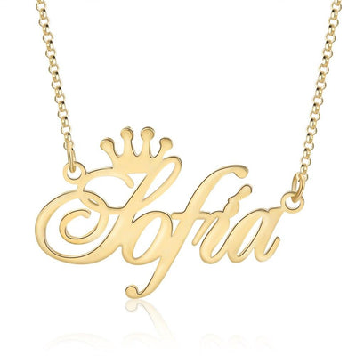 Customized Nameplate Necklace with Crown Personalized Letter Pendant Necklaces for Women Unique Jewelry Birthday Gifts for Girls