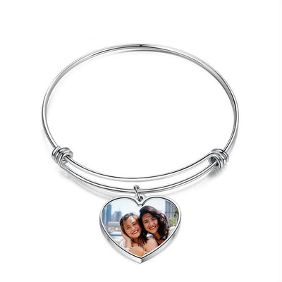 Customized Photo Bracelets for Ladies Personalized Heart Stainless Steel Engraving Name Adjustable Bracelets Women Gift