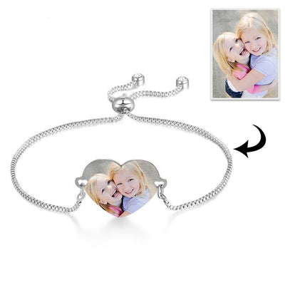 Customized Photo Engrave Photo Bracelets for Women Personalized Stainless Steel Heart Adjustable Chain Bracelets Jewelry