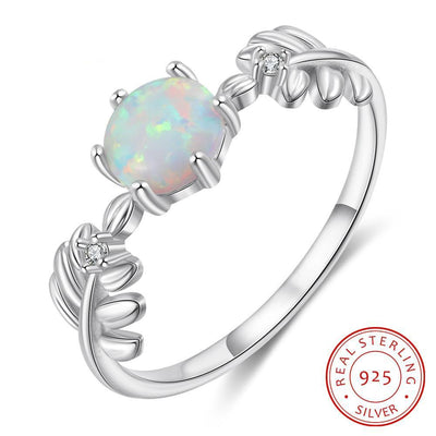 Cute Branch Leaf 925 Sterling Silver Wedding Rings for Women Silver Round White Opal Ring with Zirconia Jewelry Gift
