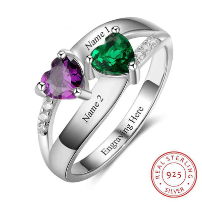 Double Heart Birthstone Ring Personalized Custom Engrave Names Promise Rings 925 Sterling Silver Jewelry