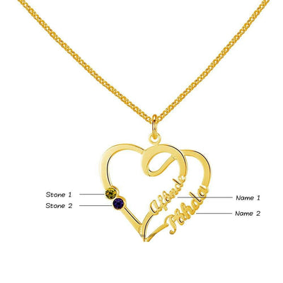 Double Heart DIY Birthstone Necklace Personalized 925 Sterling Silver Heart Shape Name Necklace Lovers Gift
