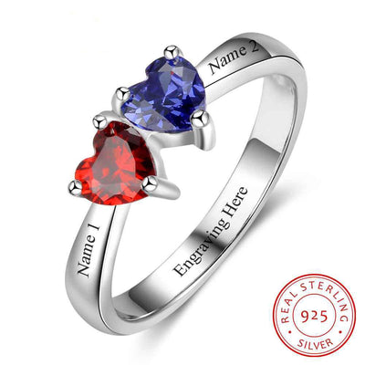 Double Heart Personalized Ring Custom Engrave Names & Birthstone Promise Rings 925 Sterling Silver Jewelry