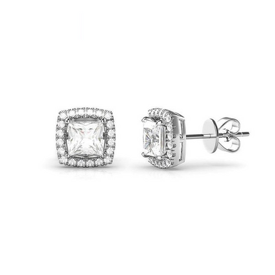 6MM Square Cubic Zirconia Sterling Silver Earrings No Women Can Refuse Them