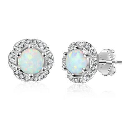 8m'm Flower Shape Milky Opal Stone 925 Sterling Silver Stud Earring Suitable For Any Occasion