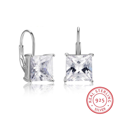 9mm Square Cubic Zirconia Earring 925 Sterling Silver Hoop Earrings Romantic Gift For Love