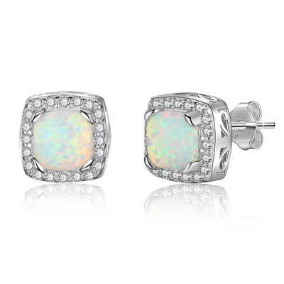 9mm Square White Opal Stud Earrings 925 Sterling Silver Earrings with Zirconia Geart Wedding Jewelry