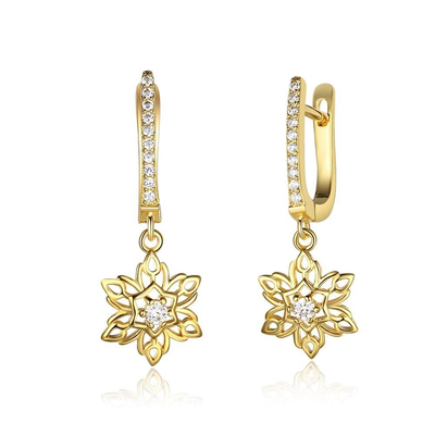 Blooming Gold Color Flower Hollow Design Cubic Zirconia Drop Earring Fashion Party Wearing