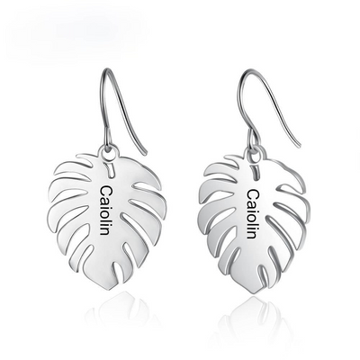Customized Engraved Leaf Earrings for Women Bohemia Personalized Name Dangle Drop Earrings Ladies Fashion
