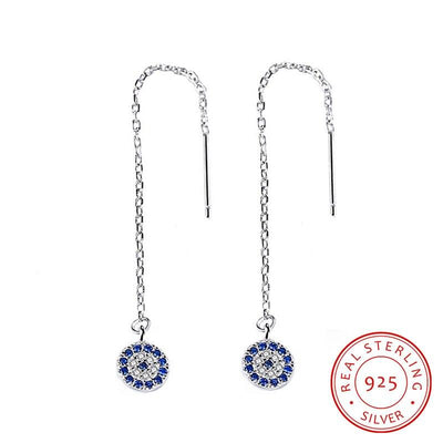 Fashion Real 925 Sterling Silver Drop Earrings Bicycle Tire Shape Blue Cubic Zirconia For Women
