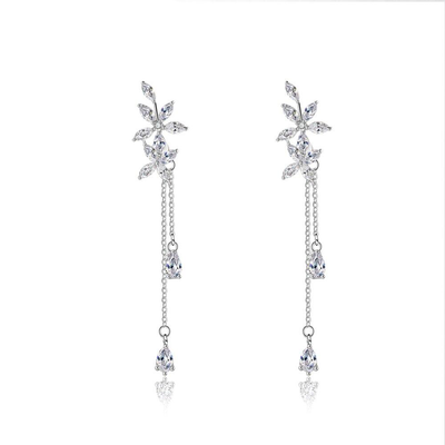 Flower pattern Cubic Zirconia Tassel Drop Earrings Fashion Jewelry Gift For Her