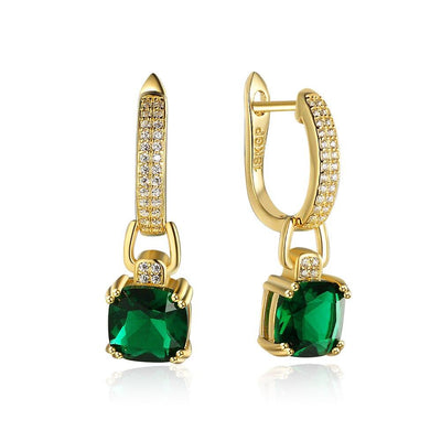 Rare Green Cubic Zirconia Dangle Earrings Lady Drop Earrings Jewelry