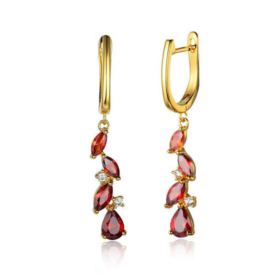 Red Cubic Zirconia Combination Long Drop Earring Fashion Party Jewelry Earrings Nice Gift For LOVE