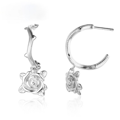 Rose Accessorise Hoop Earrings For Women 925 Sterling Silver Party Jewelry Gift