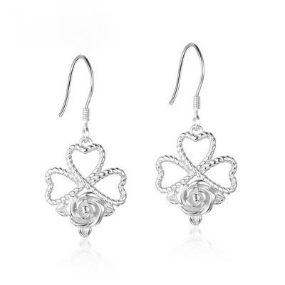 Rose Design Drop Earrings For Women 925 Sterling Silver Party Jewelry Gift