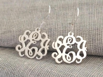 Silver Tiny Monogram Earrings 3 Initial Personalized Monogram Earrings Sterling Monogram Earrings Initial Monogram Earrings Name Earrings