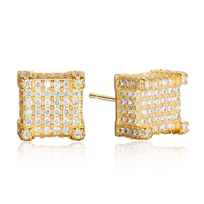 Square Shape Cubic Zirconia Gold Color Stud Earring Show Off Your Money Rich Woman Necessary