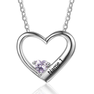 Engraved Heart Necklace With Birthstone Platinum Plated Silver Necklace Present For Mom
