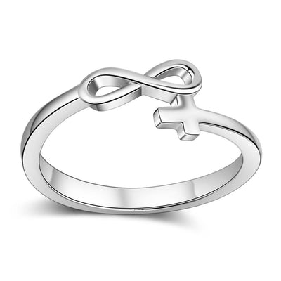 Fashion Cross & Infinity Love Rings for Women Silver Color Copper Female Finger Ring Wedding Jewelry