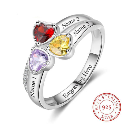 Heart Birthstone Personalized Engrave 3 Name Ring 925 Sterling Silver Anniversary Jewelry Gift For Mom