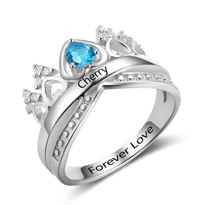 Heart Crown Birthstone Ring 925 Sterling Silver Wedding Rings Engrave Name Anniversary Personalise Gift