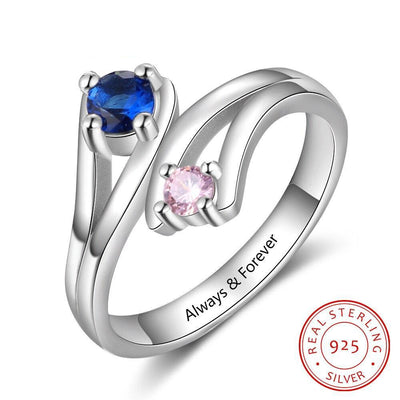 JewelOra 925 Sterling Silver Personalized Inner Engraving Birthstone Rings for Women Custom 2 Birthstones Mothers Ring Birthday Gift